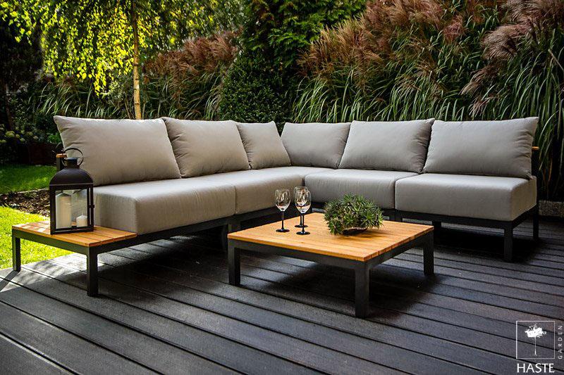 Meble ogrodowe z drewna i aluminium