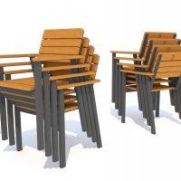 Sztaplowane fotele Mohito z aluminium i drewna